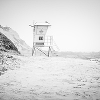 Crystal Cove Lifeguard Tower #11 black and white picture. Crystal Cove State Park is in Laguna Beach along the Pacific Ocean in Orange County Southern California.