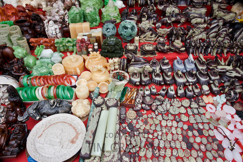 Souvenirs on sale at a stall at Bao Ding in Dazu County, near Chongqing, China