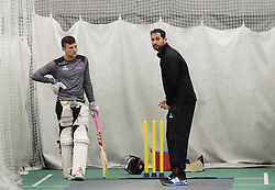 Somerset bowling coach Jason Kerr talks to Ryan Davies. - Mandatory byline: Alex Davidson/JMP - 25/02/2016 - CRICKET - The Cooper Associates County Ground -Taunton,England - Somerset CCC  Media access - Pre-Season
