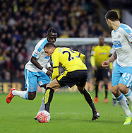 Chancel Mbemba beats Jose Holebas  during the The FA Cup Third Round match between Watford and Newcastle United at Vicarage Road, Watford, England on 9 January 2016. Photo by Dave Peters.
