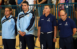 Gorazd Zuzek, Boris Denic, Miro Pozun and Stane Ostrelic before  handball game between men national teams of Slovenia and Slovakia, first qualification game for the World Chamionship 2009, on June 7, 2008, in Arena Zlatorog, Celje, Slovenija. Result: 33 : 33. (Photo by Vid Ponikvar / Sportal Images)