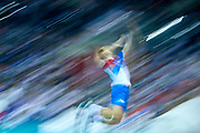 Poland, Krakow - 2017 September 03: Serbia's player serves the ball while Third Place match between Belgium and Serbia during LOTTO EUROVOLLEY POLAND 2017 - European Championships in volleyball  at Tauron Arena on September 03, 2017 in Krakow, Poland.<br /> <br /> Mandatory credit:<br /> Photo by &copy; Adam Nurkiewicz<br /> <br /> Adam Nurkiewicz declares that he has no rights to the image of people at the photographs of his authorship.<br /> <br /> Picture also available in RAW (NEF) or TIFF format on special request.<br /> <br /> Any editorial, commercial or promotional use requires written permission from the author of image.