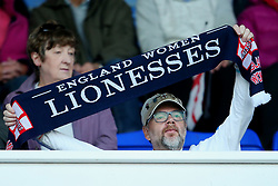An England fan waves a scarf - Mandatory by-line: Matt McNulty/JMP - 19/09/2017 - FOOTBALL - Prenton Park - Birkenhead, United Kingdom - England v Russia - FIFA Women's World Cup Qualifier