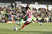 Farrend Rawson and Jacob Maddox during the EFL Sky Bet League 2 match between Forest Green Rovers and Cheltenham Town at the New Lawn, Forest Green, United Kingdom on 20 October 2018.
