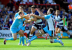 Bristol Inside Centre Ben Mosses is tackled  - Photo mandatory by-line: Joe Meredith/JMP - Mobile: 07966 386802 - 7/09/14 - SPORT - RUGBY - Bristol - Ashton Gate - Bristol Rugby v Worcester Warriors - The Rugby Championship