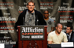 """June 3, 2009; New York, NY, USA; Josh Barnett speaks at the press conference announcing his fight against Fedor Emelianenko at Affliction M-1 Global's """"Trilogy"""".  The two will meet on August 1, 2009 at the Honda Center in Anaheim, CA."""