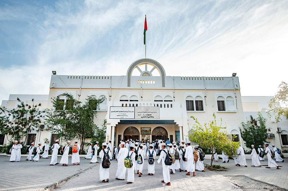 Primary School near Muskat, Oman 2011.  Nowadays almost 90 percent of the children in Oman go to school, also girls.