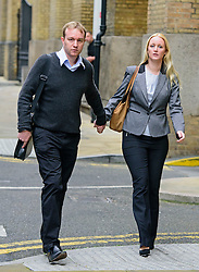 © Licensed to London News Pictures. 02/06/2015.<br /> LONDON, UK. Former UBS and Citigroup trader Tom Hayes and wife Sarah arrive at Southwark Crown Court in London. Hayes appears charged with eight counts of conspiracy to defraud in relation to alleged manipulation and rigging of the Libor rate London. Photo credit : Ben Cawthra/LNP