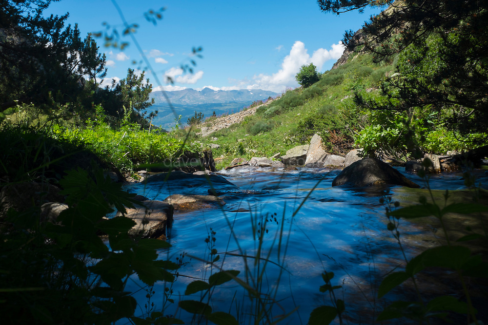 River Eyne with a view of Cerdagne and the 2921m Pic Carlit,  Vallée d'Eyne, Cerdagne, Pyrenees Catalanes. Photo taken at around 1800m.