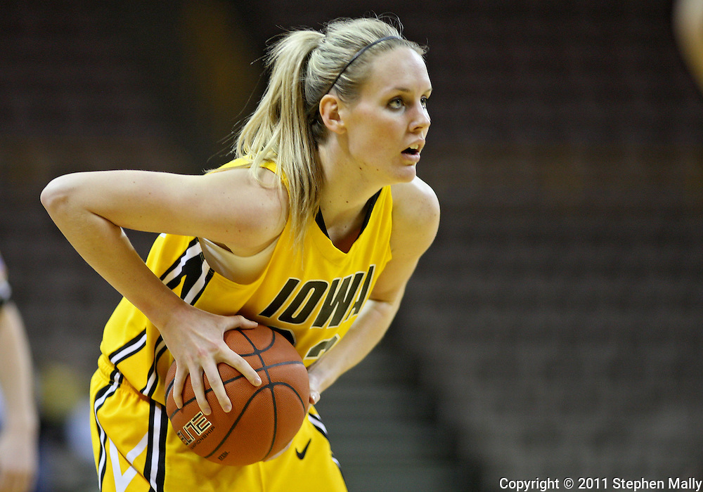 February 10 2011: Iowa Hawkeyes forward Kelsey Cermak (22) with the ball during the first half of an NCAA women's college basketball game at Carver-Hawkeye Arena in Iowa City, Iowa on February 10, 2011. Iowa defeated Minnesota 64-62.