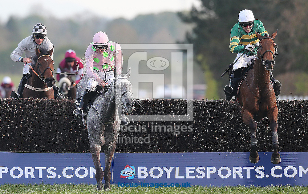 Tony McCoy on Carlingford Lough (on right) comes from behind to win the Growise Champion Novice 'chase from Ruby Walsh on Ballycasey Punchestown Festival at Punchestown Racecourse, Co.Kildare<br /> Picture by Lorraine O'Sullivan/Focus Images Ltd +353 872341584<br /> 29/04/2014
