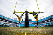 December 17, 2017: Carolina Panthers vs the Greenbay Packers. Packers players warm up
