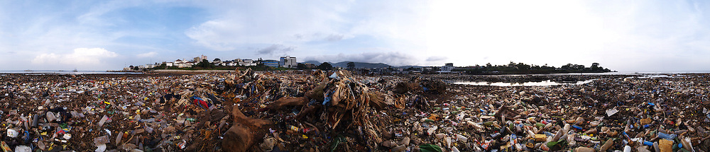 Garbage on the sea front, Kroo Bay, Freetown, Sierra Leone.
