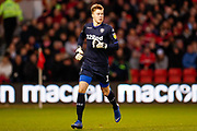 Leeds United goalkeeper Bailey Peacock-Farrell (1)  in action during the EFL Sky Bet Championship match between Nottingham Forest and Leeds United at the City Ground, Nottingham, England on 1 January 2019.