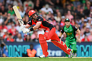 17th February 2019, Marvel Stadium, Melbourne, Australia; Australian Big Bash Cricket League Final, Melbourne Renegades versus Melbourne Stars; Dan Christian of the Melbourne Renegades hits the ball down leg side