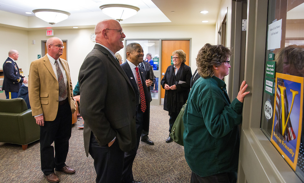 Guests tour the newly dedicated General James M. Abraham - Colonel Arlene F. Greenfield Veterans and Military Student Services Center in Baker Center. Photo by Jasmine Beaubien