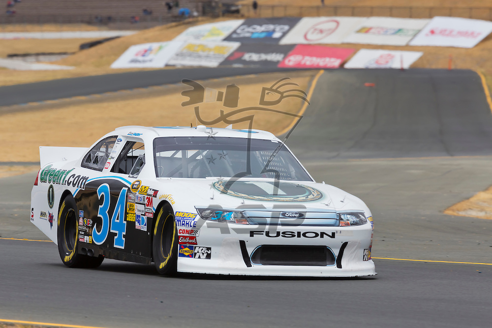 SONOMA, CA - JUN 22, 2012:  David Ragan (34) brings his car through turn 10 during a practice session for the Toyota Save Mart 350 at the Raceway at Sonoma in Sonoma, CA.