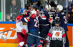 Petr Caslava of Czech Republic, Matt Hendricks of USA and other players fighting during Ice Hockey match between USA and Czech Republic at Third place game of 2015 IIHF World Championship, on May 17, 2015 in O2 Arena, Prague, Czech Republic. Photo by Vid Ponikvar / Sportida