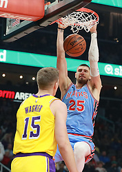 February 12, 2019 - Atlanta, GA, USA - Atlanta Hawks center Alex Len slams for two over Los Angeles Lakers center Moritz Wagner during the first half on Tuesday, Feb. 12, 2019 in Atlanta, Ga. (Credit Image: © Curtis Compton/Atlanta Journal-Constitution/TNS via ZUMA Wire)