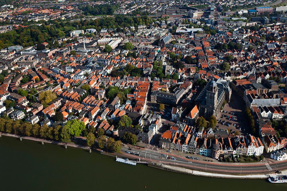 Nederland, Overijsssel, Deventer, 03-10-2010; overzicht binnenstad met Sint-Lebuiniskerk en rivier de IJssel. .Town centre with St. Lebuiniskerk and river IJssel..luchtfoto (toeslag), aerial photo (additional fee required).foto/photo Siebe Swart