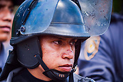 09 SEPTEMBER 2003 - CANCUN, QUINTANA ROO, MEXICO: A Mexican riot policeman on duty at the WTO protests in Cancun. Tens of thousands of protesters, mostly farmers, came to Cancun for the fifth ministerial of the World Trade Organization (WTO). They were protesting against developed nations pushing to get access to agricultural markets in developing nations. The talks ultimately collapsed after no progress with no agreements reached between the participants.      PHOTO BY JACK KURTZ