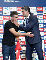 Atletico de Madrid's new player Santos Borre (l) during his official presentation with the General Manager Jose Luis Perez Caminero. July 14, 2016. (ALTERPHOTOS/Acero)