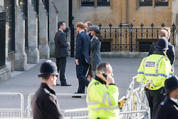 Westminster Abbey, London, March 14th 2016.  Her Majesty The Queen, Head of the Commonwealth, accompanied by The Duke of Edinburgh, The Duke and Duchess of Cambridge and Prince Harry attend the Commonwealth Service at Westminster Abbey on Commonwealth Day. PICTURED: Prince Harry and the Duke and Duchess of Cambridge, William and Kate arrive.