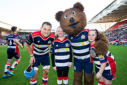 Mascots with Olly Robinson (capt) of Bristol Rugby and Brizzly - Rogan Thomson/JMP - 26/12/2016 - RUGBY UNION - Ashton Gate Stadium - Bristol, England - Bristol Rugby v Worcester Warriors - Aviva Premiership Boxing Day Clash.