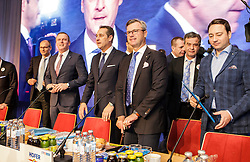 04.03.2017, Messe, Klagenfurt, AUT, FPÖ, 32. Ordentlicher Bundesparteitag, im Bild v.l.n.r. Mario Kunasek, Bundesparteiobmann Heinz Christian Strache, Norbert Hofer und Manfred Haimbuchner // at the 32nd Ordinary Party Convention of the Freiheitliche Partei Oesterreich (FPÖ) in Klagenfurt, Austria on 2017/03/04. EXPA Pictures © 2017, PhotoCredit: EXPA/ Wolgang Jannach