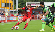 Luke Rooney whipping in a ball during the Sky Bet League 2 match between Crawley Town and AFC Wimbledon at the Checkatrade.com Stadium, Crawley, England on 15 August 2015. Photo by Michael Hulf.