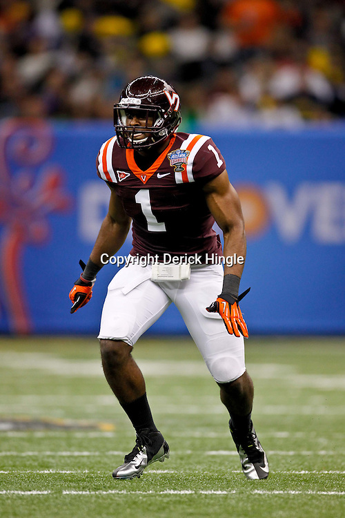 January 3, 2012; New Orleans, LA, USA; Virginia Tech Hokies safety Antone Exum (1) against the Michigan Wolverines during the second quarter of the Sugar Bowl at the Mercedes-Benz Superdome.  Mandatory Credit: Derick E. Hingle-US PRESSWIRE