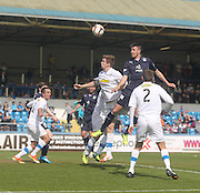Declan Gallagher outjumps Stuart Findlay - Greenock Morton v Dundee, SPFL Championship at Cappielow<br /> <br />  - &copy; David Young - www.davidyoungphoto.co.uk - email: davidyoungphoto@gmail.com