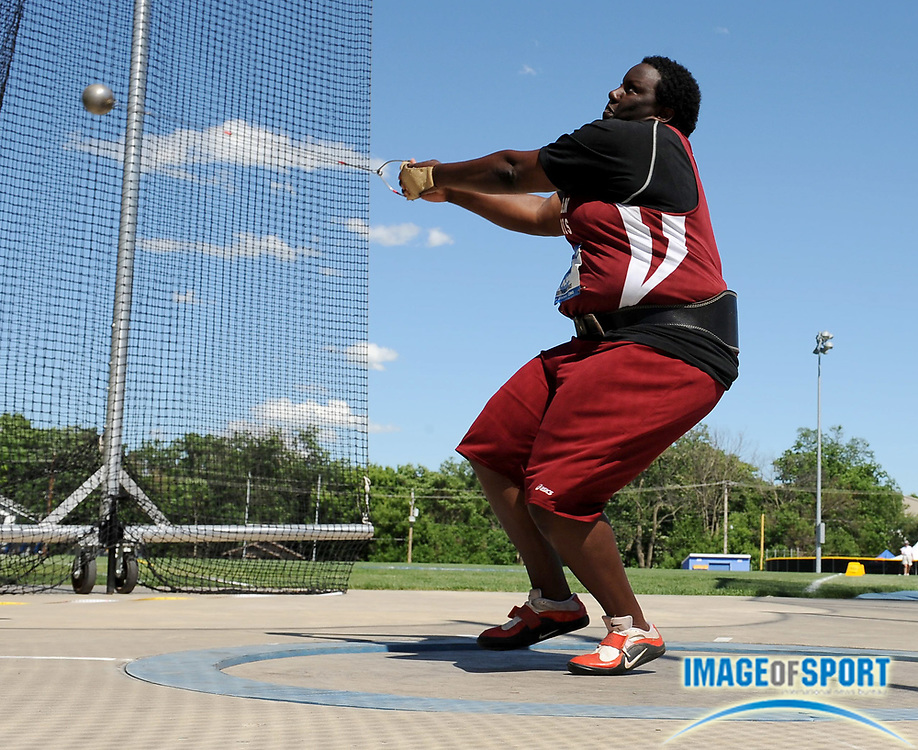 Jun 13, 2008; Des Moines, IA; Brittany Riley of Southern Illinois was second in the women's hammer at 221-3 (67.44m) in the NCAA Track & Field Championships at Drake Stadium.