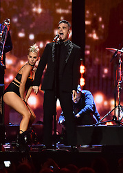 Robbie Williams on stage at the BRIT Awards 2017, held at The O2 Arena, in London.<br />