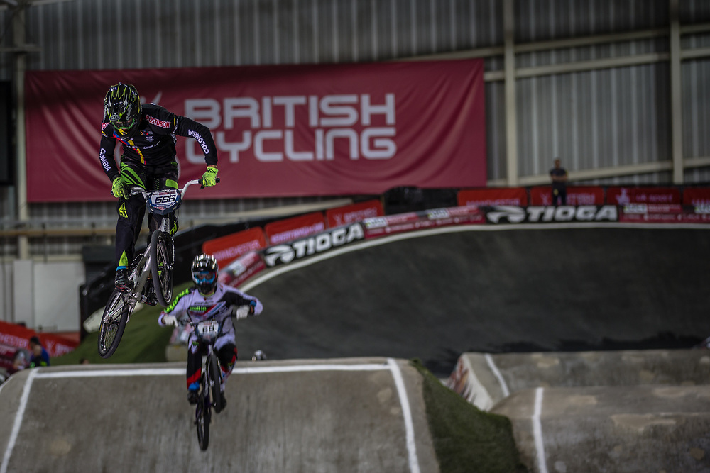 #566 (OQUENDO ZABALA Carlos Mario) COL at the 2016 UCI BMX Supercross World Cup in Manchester, United Kingdom<br /> <br /> A high res version of this image can be purchased for editorial, advertising and social media use on CraigDutton.com<br /> <br /> http://www.craigdutton.com/library/index.php?module=media&pId=100&category=gallery/cycling/bmx/SXWC_Manchester_2016
