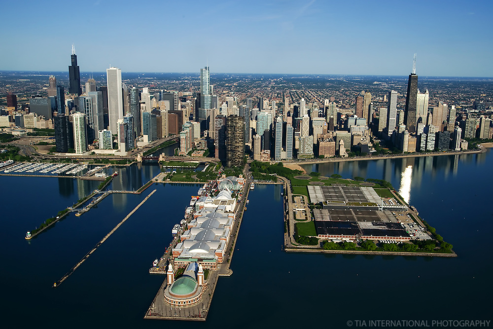 Chicago Skyline featuring the Navy Pier & Jardine Water Filtration Plant