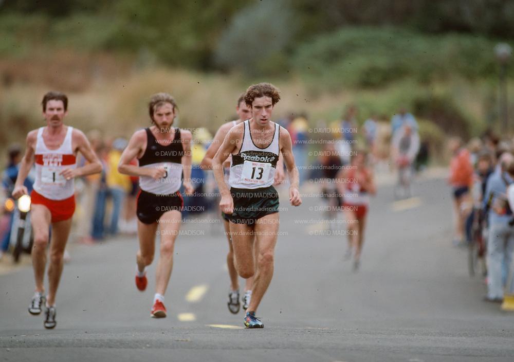 1980 Nike OTC Marathon, September 7, 1980, Eugene, Oregon.  Bob Hodge #13, Benji Durden #5, Dick Quax #1.  Photograph by David Madison www.davidmadison.com.