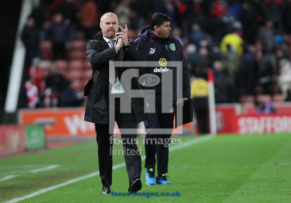 Sean Dyche, manager of Burnley applauds the fans after the Premier League match against Stoke City at the Bet 365 Stadium, Stoke-on-Trent.<br /> Picture by Michael Sedgwick/Focus Images Ltd +44 7900 363072<br /> 03/12/2016