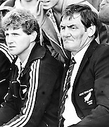 Anxious moments for New Zealand All Blacks coach Brian Lochore a couple of minutes before the end of the second test against Argentina in Buenos Aires, 1985. Photo: PHOTOSPORT/Peter Bush
