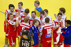 Players of Iceland after the handball match between France and Iceland in  Main Round of 10th EHF European Handball Championship Serbia 2012, on January 25, 2012 in Spens Hall, Novi Sad, Serbia. (Photo By Vid Ponikvar / Sportida.com)