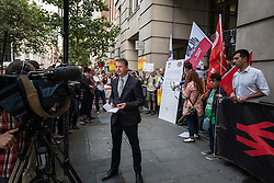 © Licensed to London News Pictures. 10/08/2016. London, UK. Commuters protest outside the Department for Transport to demand 'fairer fares' on Southern Rail services. Southern Rail staff have called off the final two days of a week-long strike over job losses and passenger safety. Photo credit: Rob Pinney/LNP