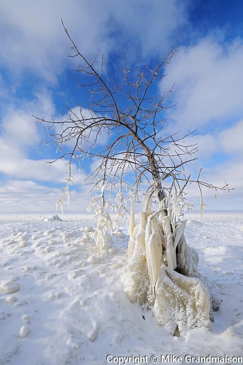 Ice on Lkae Winnipeg shoreline, Victoria Beach, Manitoba, Canada
