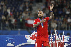 July 3, 2017 - Saint Petersburg, Russia - Arturo Vidal of Chile national team during award ceremony after FIFA Confederations Cup Russia 2017 final match between Chile and Germany at Saint Petersburg Stadium on July 2, 2017 in Saint Petersburg, Russia. (Credit Image: © Mike Kireev/NurPhoto via ZUMA Press)