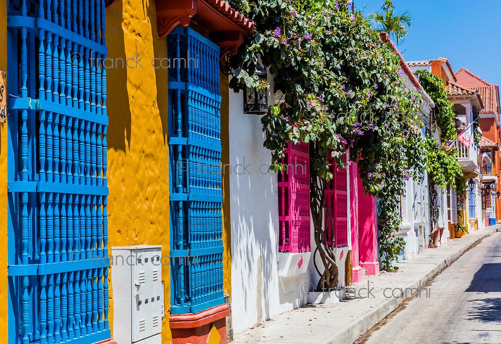 Colorful streets of Getsemani<br /> aera of Cartagena de los indias Bolivar in Colombia South America