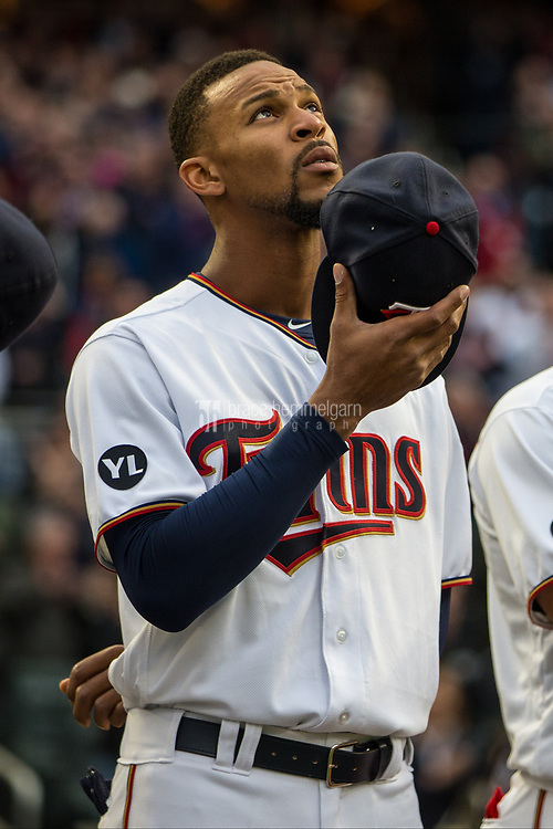 MINNEAPOLIS, MN- APRIL 3: Byron Buxton #25 of the Minnesota Twins looks on against the Kansas City Royals on April 3, 2017 at Target Field in Minneapolis, Minnesota. The Twins defeated the Royals 7-1. (Photo by Brace Hemmelgarn) *** Local Caption *** Byron Buxton