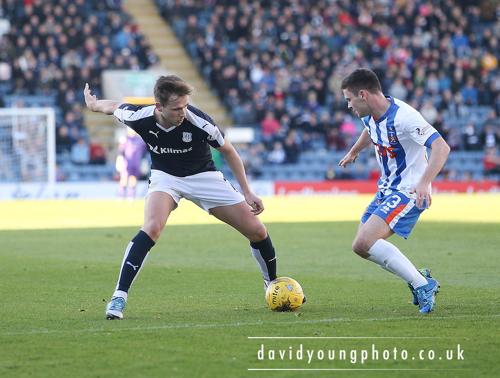 Dundee&rsquo;s Greg Stewart takes on Kilmarnock&rsquo;s Greg Kiltie - Dundee v Kilmarnock, Ladbrokes Premiership at Dens Park <br /> <br />  - &copy; David Young - www.davidyoungphoto.co.uk - email: davidyoungphoto@gmail.com