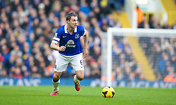 LONDON, ENGLAND - Sunday, February 9, 2014: Everton's captain Phil Jagielka in action against Tottenham Hotspur during the Premiership match at White Hart Lane. (Pic by David Rawcliffe/Propaganda)