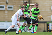 Forest Green Legends Jim Rollo beats Trevor Horsley XI Carl Horsley to the ball during the Trevor Horsley Memorial Match held at the New Lawn, Forest Green, United Kingdom on 19 May 2019.