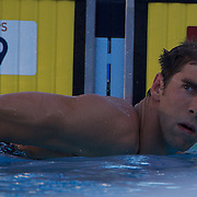 Michael Phelps after his 200m Freestyle swim at the World Swimming Championships in Rome on Monday, July 27, 2009. Photo Tim Clayton.