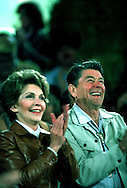 A 29.5 MG FILE FROM FILM OF:.The Reagans clap at an event near their ranch in Santa Barbara, CA Photo by Dennis Brack